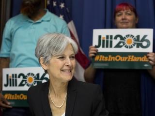 Police escort Jill Stein away from debate site