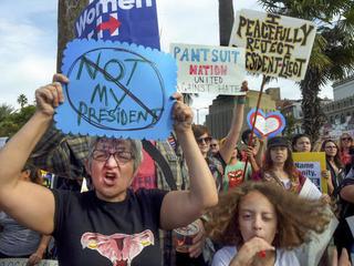 Immigrants demonstrate against Trump