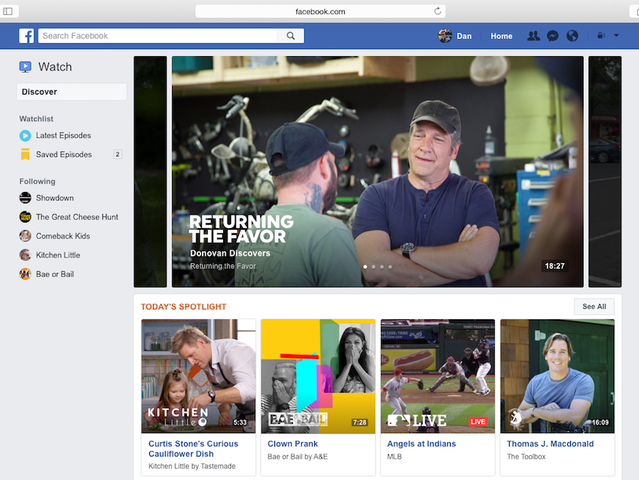 Facebook Launches Watch Video Service